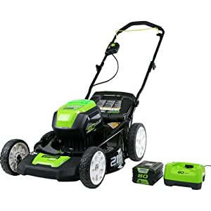 GreenWorks Pro GLM801602 80V 21-Inch Cordless Lawn Mower, 4AH Battery and a Charger Included