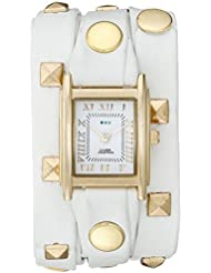 La Mer Collections Womens LMLW1010E White Gold Pyramid Analog Display Quartz White Watch