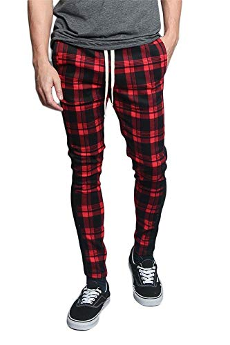 Image Lrg (Men's Plaid Checkered Tartan Outer Side Stripe Inseam Ankle Zipper Drawstring Premium Track Pants TR537 - Red - Large - V1B)