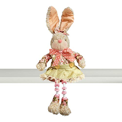 Northeast Home Goods Cotton Wood Sitting Easter Bunny Shelf Sitter with Dangling Legs, 18.5-Inch (Pink/Green -
