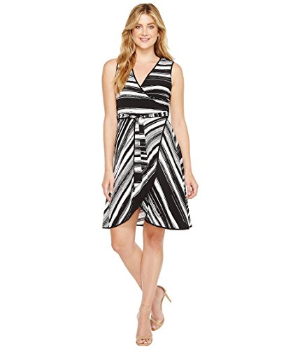 Calvin Klein Women's Sleeveless Stripe Print Mock Wrap Dress, Black/White, 12