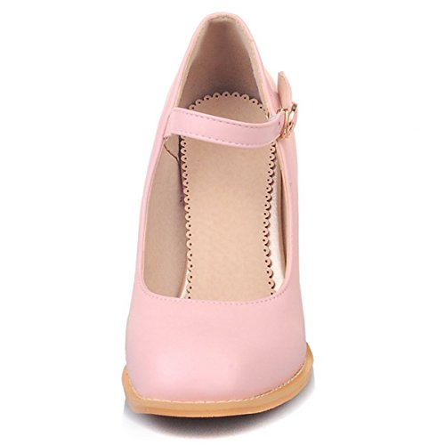 Pumps Block Women's High Faux Causal Janes Ankle DecoStain Strap Shoes Mary Heel Pink Leather UHnxpw8