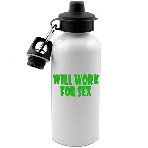 Will Work For Sex Funny 20 OZ White Aluminum Water Bottle (LIME GREEN) by Decal Serpent