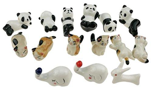 Set of 15 Handmade Ceramic Animal Pattern Chopstick Rest Stand Panda Cat Elephant Rabbit For Knife Fork Spoon Chopstick Tableware Kids Toy Ornament Decoration