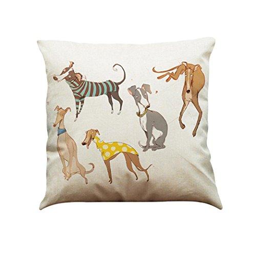 Kimloog Cute Dog Cotton Linen Pillow Cases Hidden Zip Sofa Home Car Waist Throw Cushion Cover (B)
