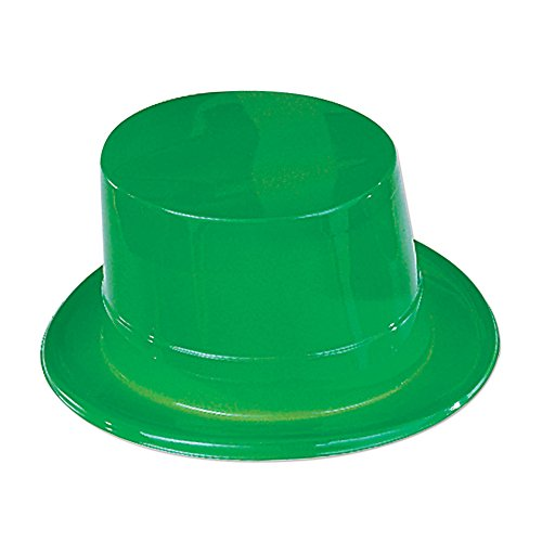 Green Glitter Top Hat (Beistle 33724 24-Pack Plastic Toppers Party Hat, Green)