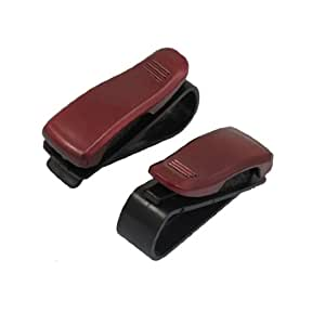 uxcell® 2 Pcs Red Eyeglasses Sunglasses Clip Holder for Car Auto