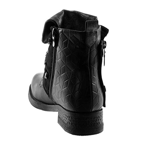 Heel Rock Boot Fashion Angkorly 3 Donna pieno Modern Scarpa Cm Block Glitter interno Biker nero Fancy 5 Street fpfItvwq