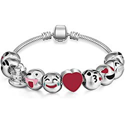 Emoji Charms Bracelet - Silver Plated With 10 Pieces of Interchangeable Enamel Smiley Faces #3