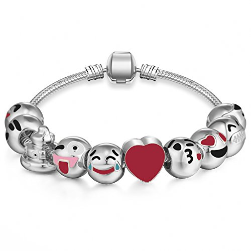 Emoticon Charms Bracelet - Silver Plated With 10 Pieces of Interchangeable Enamel Smiley Faces - Face Long Shaped