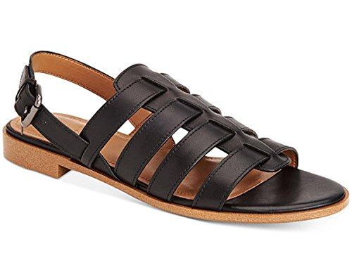Coach Womens Skyler Leather Open Toe Casual Strappy Sandals, Black, Size 7.5