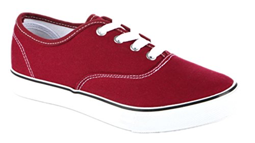Shop Pretty Girl Womens Sneakers Casual Canvas Shoes Solid Colors Low Top Lace Up Flat Fashion Classic 2 Maroon 3Z2NW