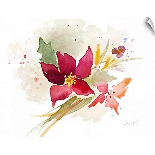 CANVAS ON DEMAND Poinsettia Spray Wall Peel Art Print, 48