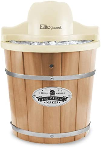 Maxi-Matic Old Fashioned Vintage Appalachian Wood Electric Maker Machine with Leak-Proof Liner, Uses Rock Salt Churns Ice Cream in Minutes, 4 Quart, Pine Bucket