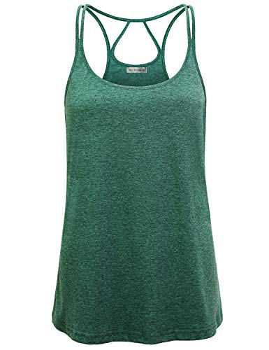 (Miss Fortune Gym Tank Tops for Women, Criss Cross Back Tank Tops Open Back Running Shirts Sun Swing Racerback Active Casual Basic Tshirt Scoop Neck Sleeveless Workout Tunic Tank Outdoor L Green)
