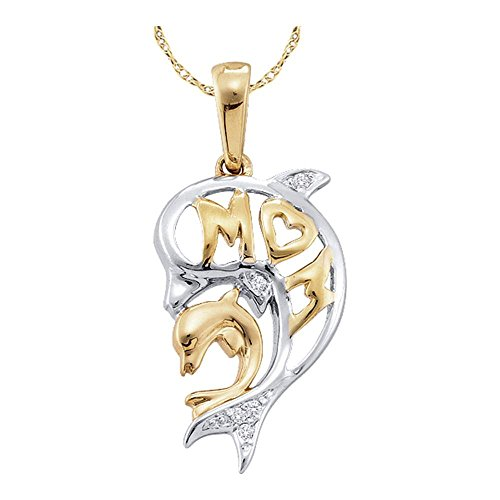Sonia Jewels 10k White and Yellow 2 Two Tone Gold Mom Heart Dolphin Mothers Day Round Cut Diamond Pendant – 11mm Width 22mm Height .02 cttw