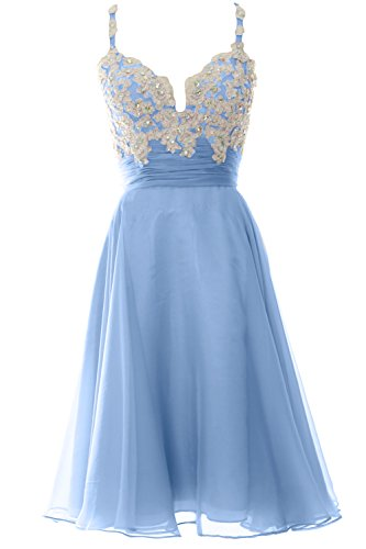 Formal Cocktail Women Short Strap Lace Blue Sky Gown Chiffon Dress Macloth Prom aF87X