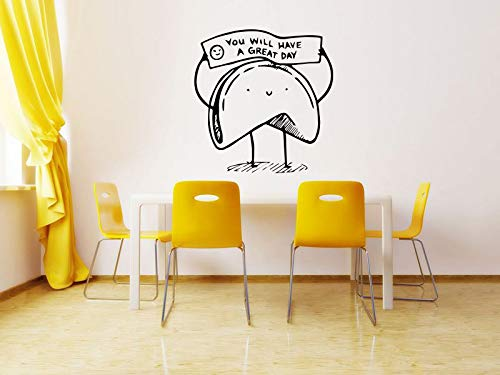 Wall Sticker Chinese Fortune Cookie You Will Have A Great Day Kitchen Vinyl Mural Decal Art Decor EH2542 ()