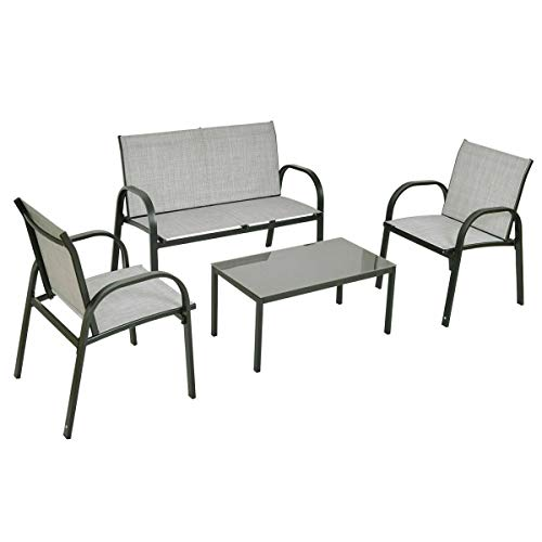 Cypress Shop Fabric Patio Furniture Set Steel Frame Tea Table Glass Top Chair Loveseat Single Sofas Garden Set Bistro Garden Backyard Lawn Deck Black Home Furniture Set of 4 (Fabrics Lloyd Flanders)