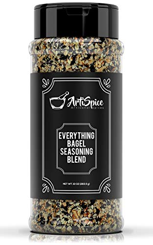 Everything Bagel Seasoning Blend, 10oz - White And Black Sesame Seasoning, Garlic Powder Blend and Sea Salt For Bagels - Natural All Purpose Seasoning Spice Shaker by ArtiSpice - Bagels Seed