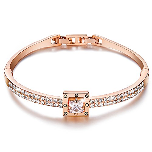 [Menton Ezil Princess Crystal Bracelet Rose Gold Luxury Jewelry Adjustable Bangle Bracelets for Womens Girls Wife Anniversary Fashion Collections Loves] (Father Of The Year Costume)