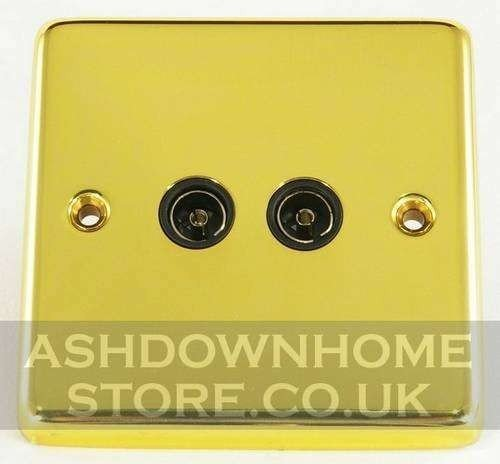 G&H CB36B Standard Plate Polished Brass 2 Gang TV Coax Socket Point G&H Brassware