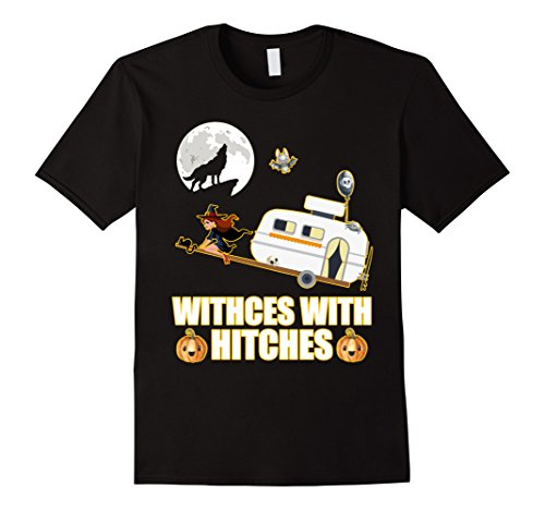Mens Witches With Hitches Camping Funny Halloween T-Shirt Large (Halloween Camping Decorations)