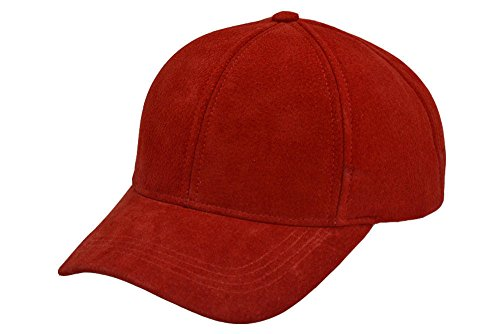 Emstate Suede Leather Baseball Caps Various Colors Made in USA (Dark Red)