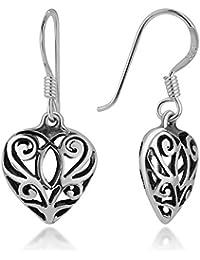 """925 Oxidized Sterling Silver Bali Inspired Filigree Open Puffed Heart Dangle Hook Earrings 1.1"""""""