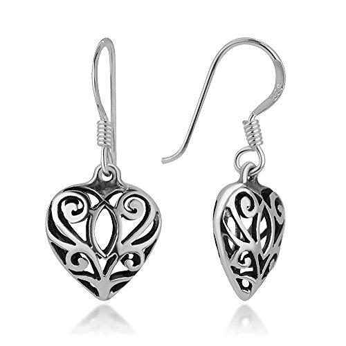 (925 Oxidized Sterling Silver Bali Inspired Filigree Open Puffed Heart Dangle Hook Earrings 1.1
