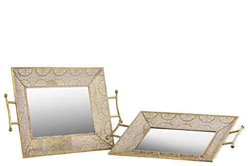 ular Tray with Mirror Surface and Handle Set of Tree Pierced Metal, 28.75 by 17.25 by 2.75