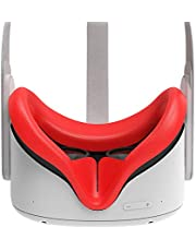 AMVR VR Silicone Face Cover for Oculus Quest 2 Headset, Sweatproof Waterproof Anti-Dirty Replacement Facial Cushion Oculus Pads Accessories (Red)