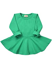 Infant Toddler Baby Girls Dress Cozy Ruffles Long Sleeves...
