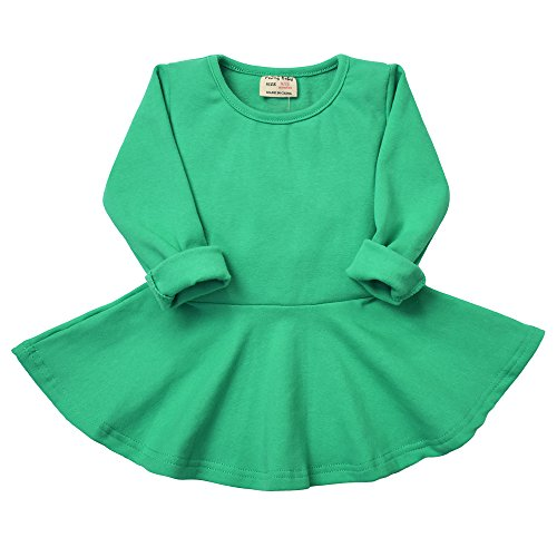 Green Cotton Dress - Infant Toddler Baby Girls Dress Pink Ruffle Long Sleeves Cotton (6-9m, Green)
