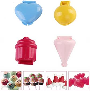 Kitamp 4pcs Tray Pop Cake Plastic Heart Shape Lollipop Moulds for Kids Party Candy Mold Lollipop Tools