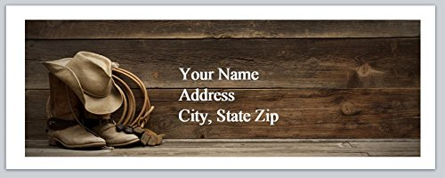 150 Personalized Address Labels Western Country Cowboy hat and Lasso (ac 942)