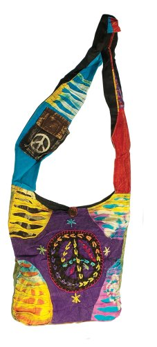Nepal Razor Cut Bag w/ Large Peace Sign - Assorted Styles/ Colors (Stitched Pocket Hobo)