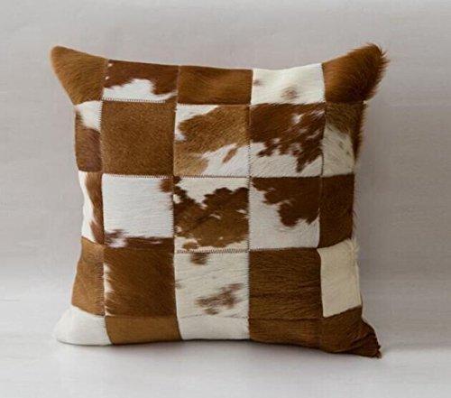 Funda de almohada cojín de vaca Vaca pelo en marrón y blanco ...
