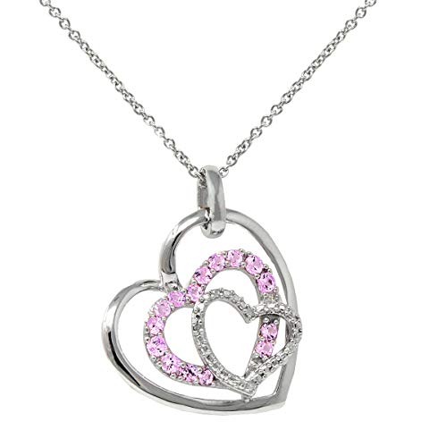Lab Created Pink Sapphire and Diamond Heart Pendant-Necklace in Sterling Silver