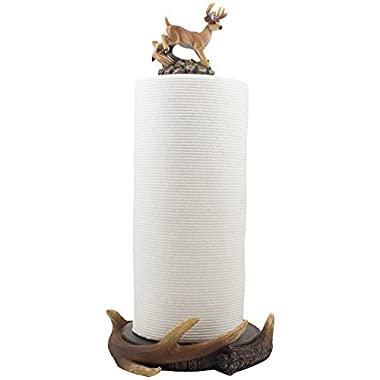 Wild Buck and Deer Antlers Paper Towel Holder with Decorative Display Stand Sculpture for Rustic Lodge and Hunting Cabin Kitchen Decor or Dining Room Counter and Table Centerpiece Decorations As Gifts for Hunters & Bucks Fans by Home-n-Gifts