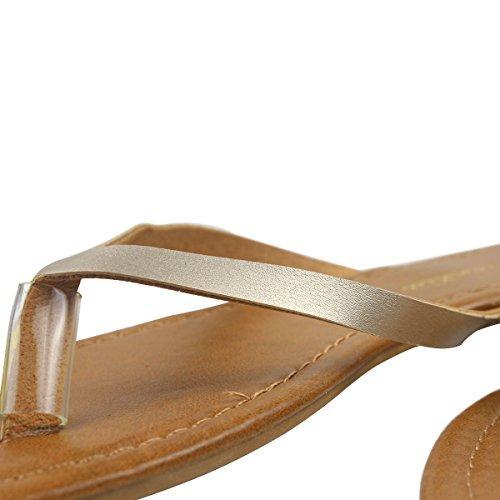wealsex Plates Flip Grande Classique Tongs Chaussures Femmes Cuir 41 Simple Flop 40 Taille PU Piscine Or Sandales Plage rrF5q