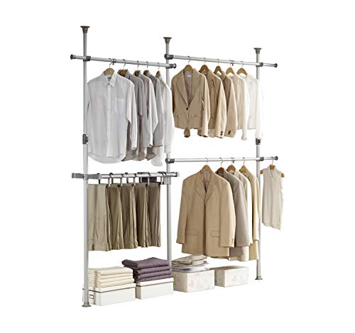 PRINCE HANGER, Double 2tier Pants Hanger, Silver, Steel, 38mm Heavy Duty, Closet Organizer, Clothing Rack, PHUS-0031