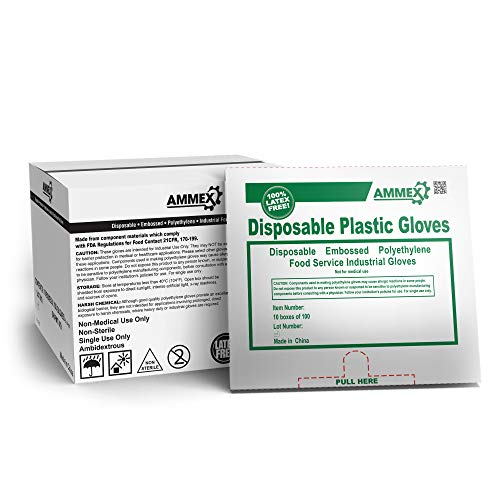AMMEX Plastic Disposable Gloves - Clear, 1 Mil, Embossed, Polyethylene, Food Service, Large, Case of 1000 from Ammex