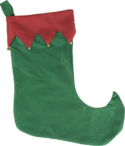 Clever Creations Elf Shoe Christmas Stocking Red and Green Theme | Jingle Bells on Cuff and Toe | Easy to Personalize | Lightweight Felted Material | Festive Holiday Décor | Measures 17