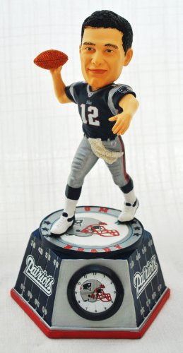 New England Patriots #12 Tom Brady Forever Collectibles Bobble Head Clock Hard Resin Material by forever