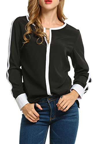 ACEVOG Women Cut Out Slit Long Sleeve Round Collar Contrast Color Blouse Tops