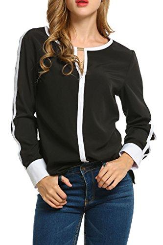ACEVOG Women Cut Out Slit Long Sleeve Round Collar Contrast Color Blouse Tops