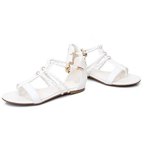 COOLCEPT Damen Mode Clip Toe Sandalen Flach Cut Out Runde Zehe Schuhe Zipper Gr White