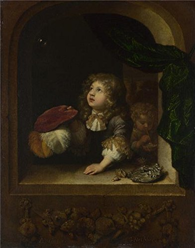 Oil Painting 'Caspar Netscher - Two Boys Blowing Bubbles,abo