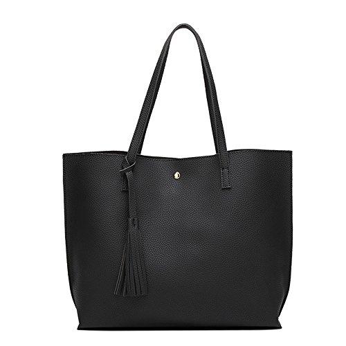 Anne de la mujer Tote Bolsas Casual Gran Capacidad del bolso Lady bolsos grandes bolsas de las mujeres negro